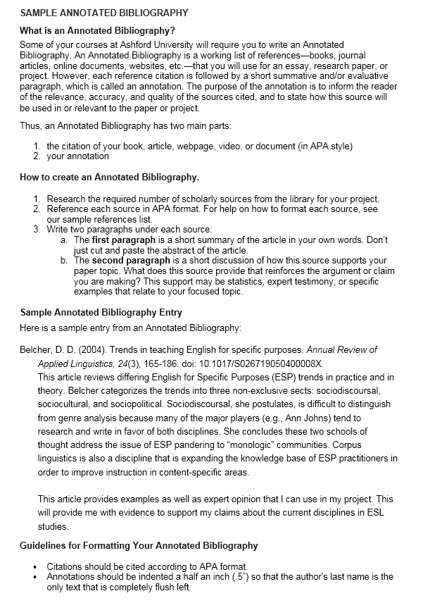 annotated bibliography samples